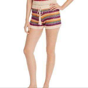 AQUA Rainbow-Stripe Crochet Shorts